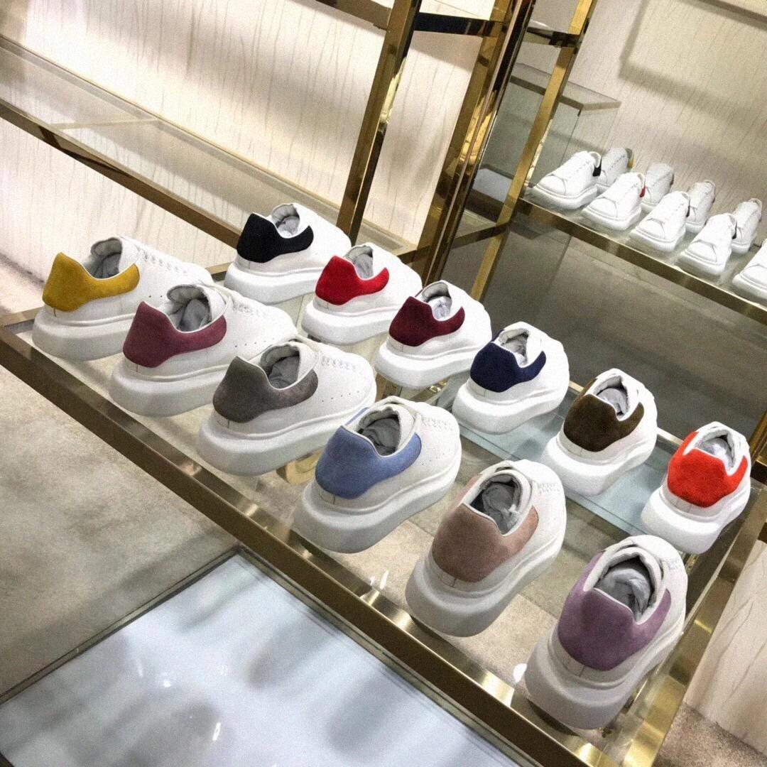 Homens Mulheres Branco Mens Sapatos Espadrilles Plataforma Sapatos Oversized Espadrille Sapatilhas Planas com Caixa Tamanho alexander mcqueen mcqueens sneakers baskets mqueen