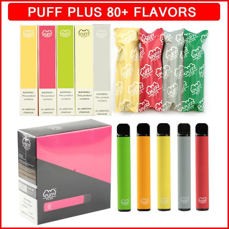 퍼프 바 플러스 일회용 전자 담배 vape 80 색 800+ 퍼프 550mAh 배터리 미리 페로 된 액체 카트리지 3.2ml 포드 기화기 펜 장치 퍼프 바 바 eCigs vapes