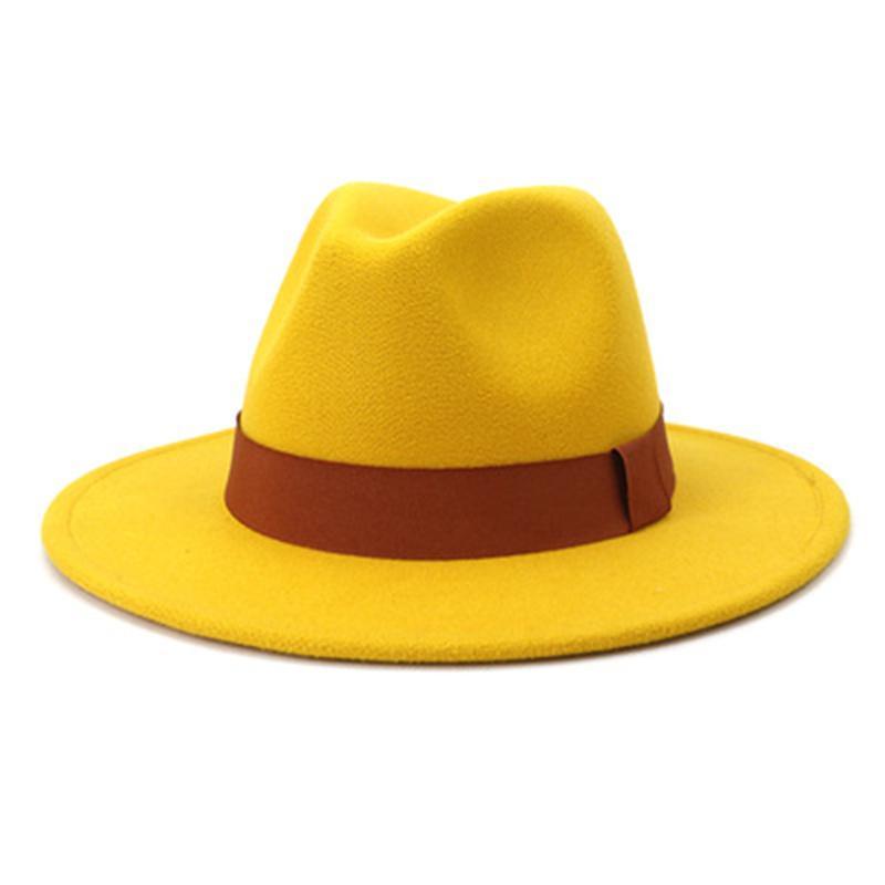 hats women men caps jazz solid ribbon band fedoras classic dress wedding khaki camel felted panama summer winter women hats