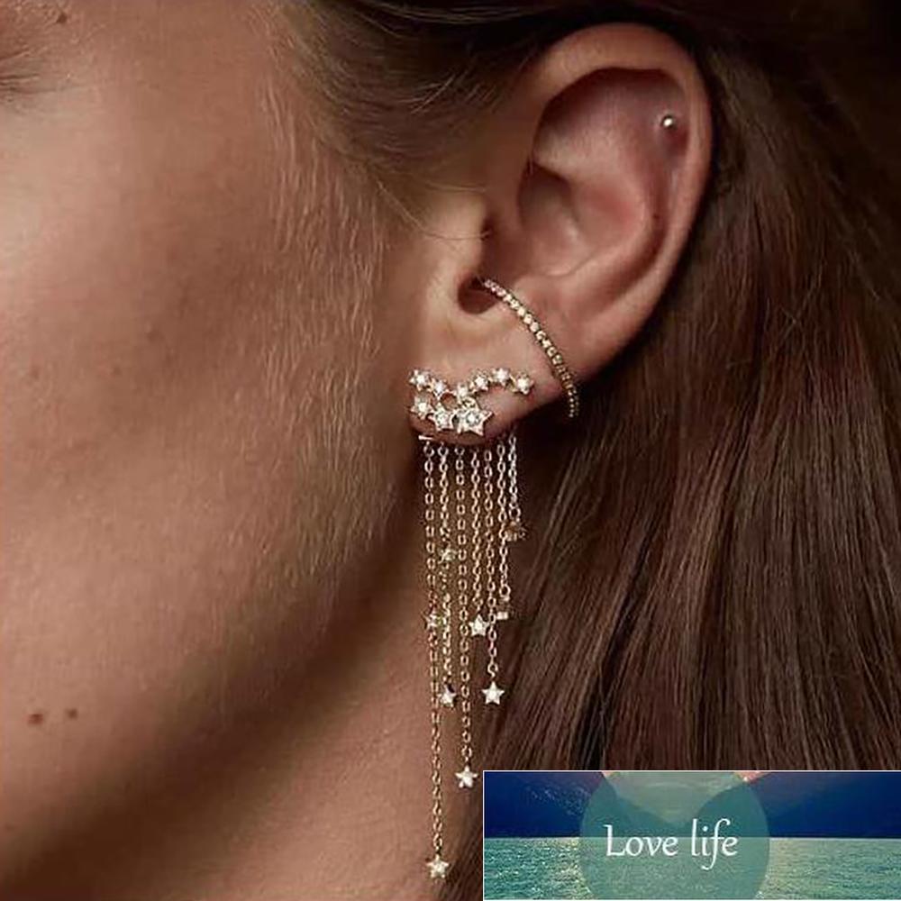 1 par moda mulheres elegante ouro / prata cor estrela simplificada tassel longa brincos de cristal mulheres menina jóias pendante femme