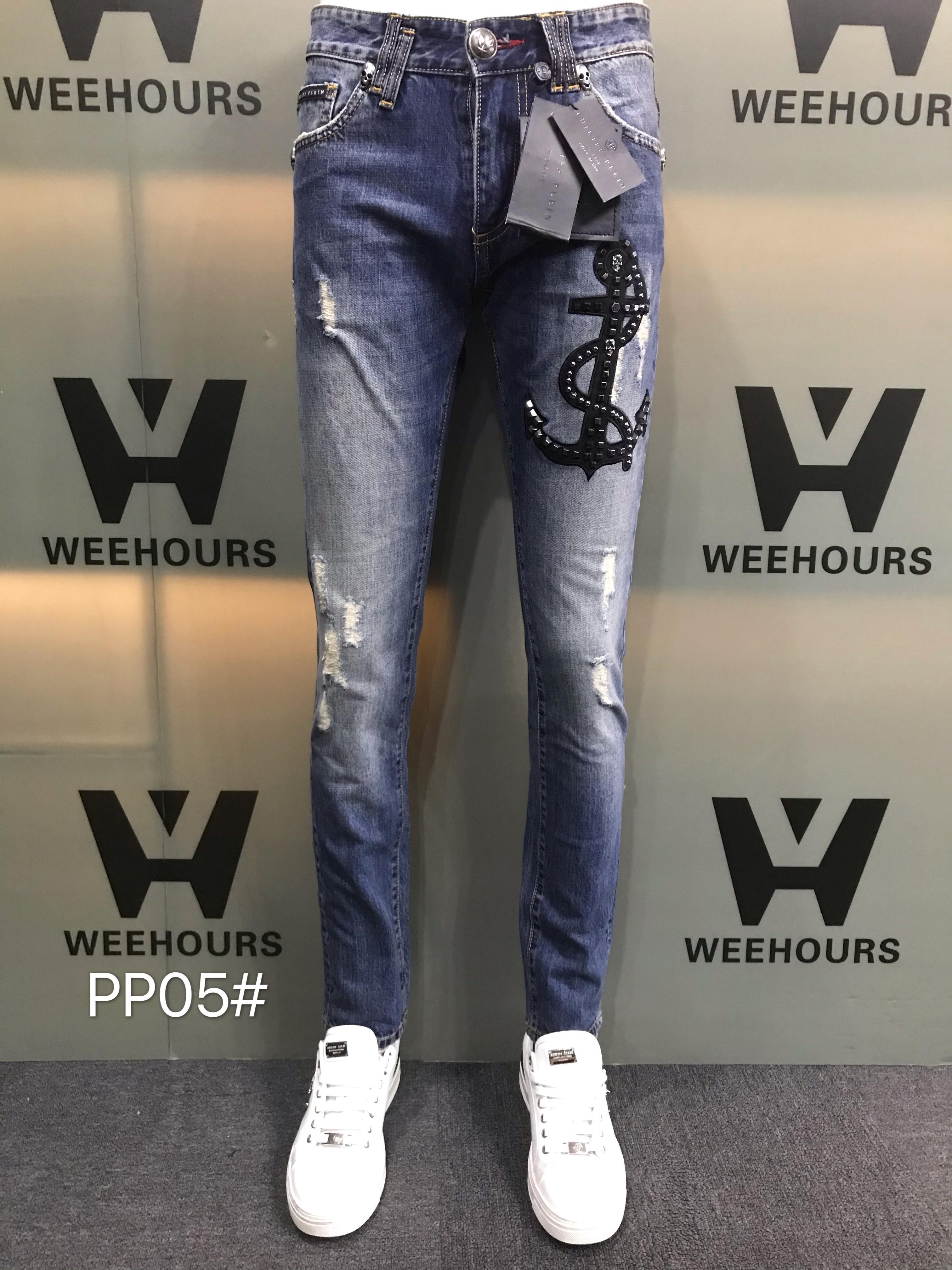 Jeans Hip-hop casuais masculinos e femininos atualmente à venda Calças de luxo do designer PP05-03