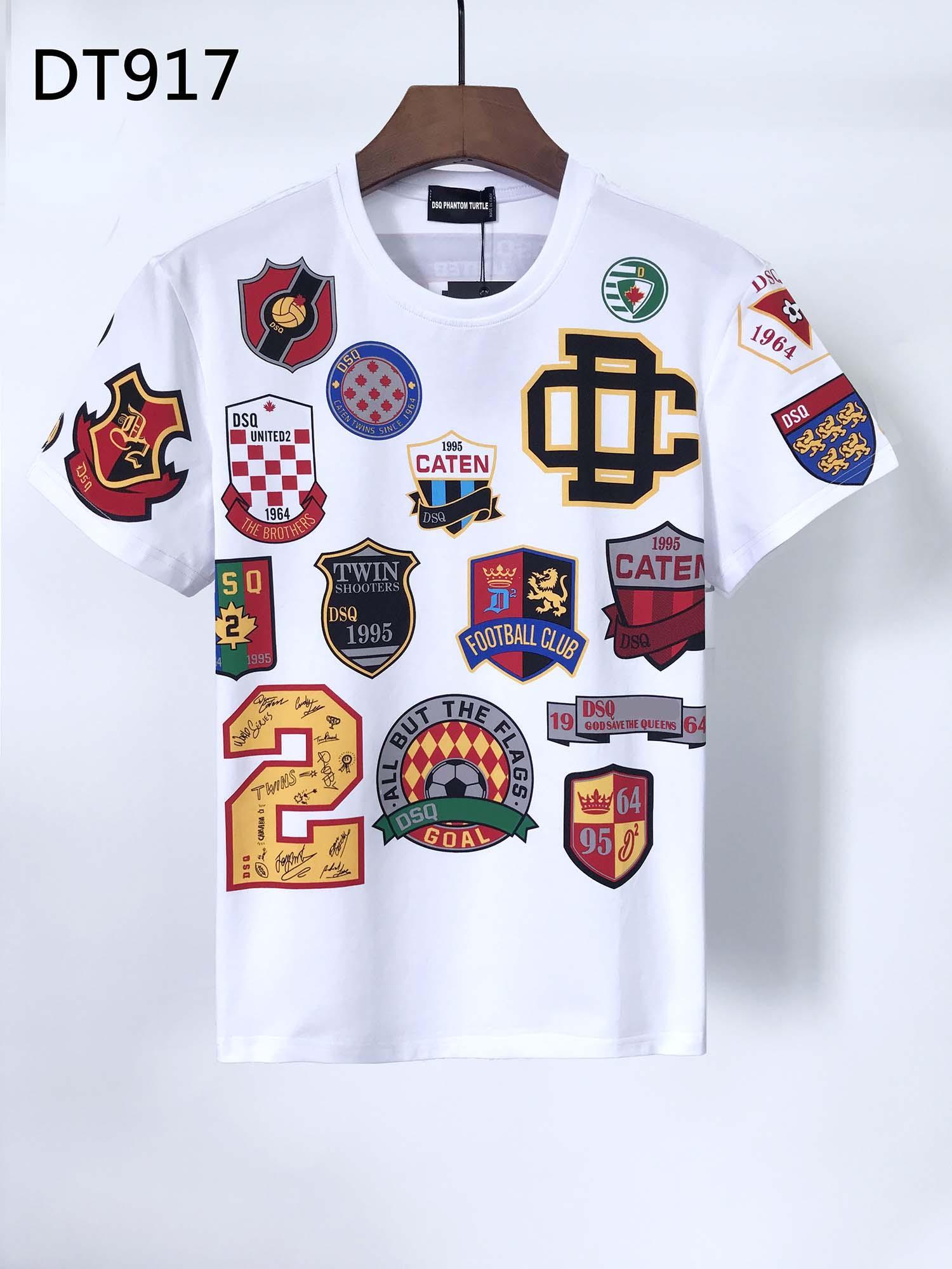 DSQ Mens Designer T Shirts Black White Men Summer Fashion Casual Street T-shirt Tops Short Sleeve Euro Size M-XXXL 6853