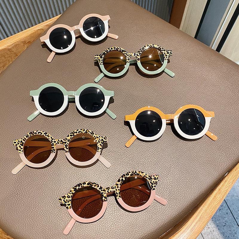 Fashion Kids Lunettes de soleil garçons filles 2021 rondes lunettes de soleil enfants Vintage léopard coloré lunettes lunettes UV lunettes UV