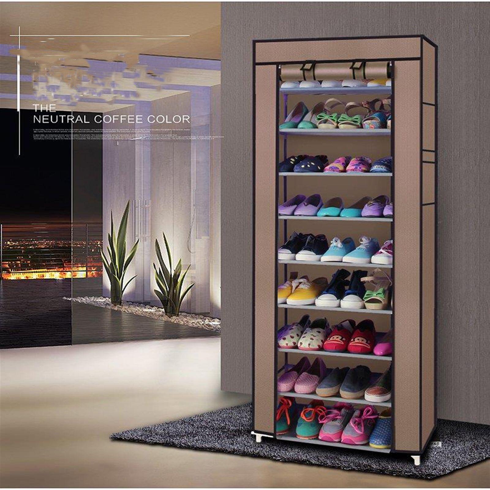 Нетканые стойки бытовой шкаф 10 слоев 9 сетка большая емкость для обуви пылезащитный кофе с крышкой
