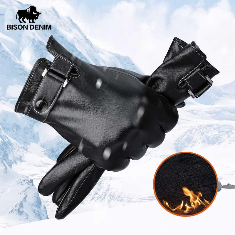 BISON DENIM Winter Warm Men Gloves Windproof Touch Screen Waterproof PU Leather Driving Cycling Gloves for Men S069 Y0910