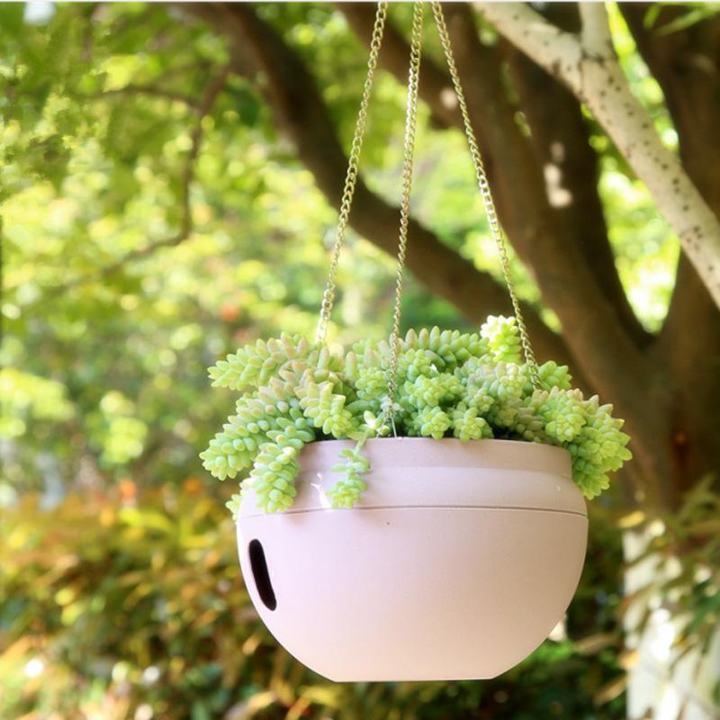 Plastik Özgünlük Asılı Sepetler Tencere Kendinden Sulama Saksı Bahçe Bitki Ekici Saksı Eşleştirme Zinciri Balkon Dekorasyon 709 V2