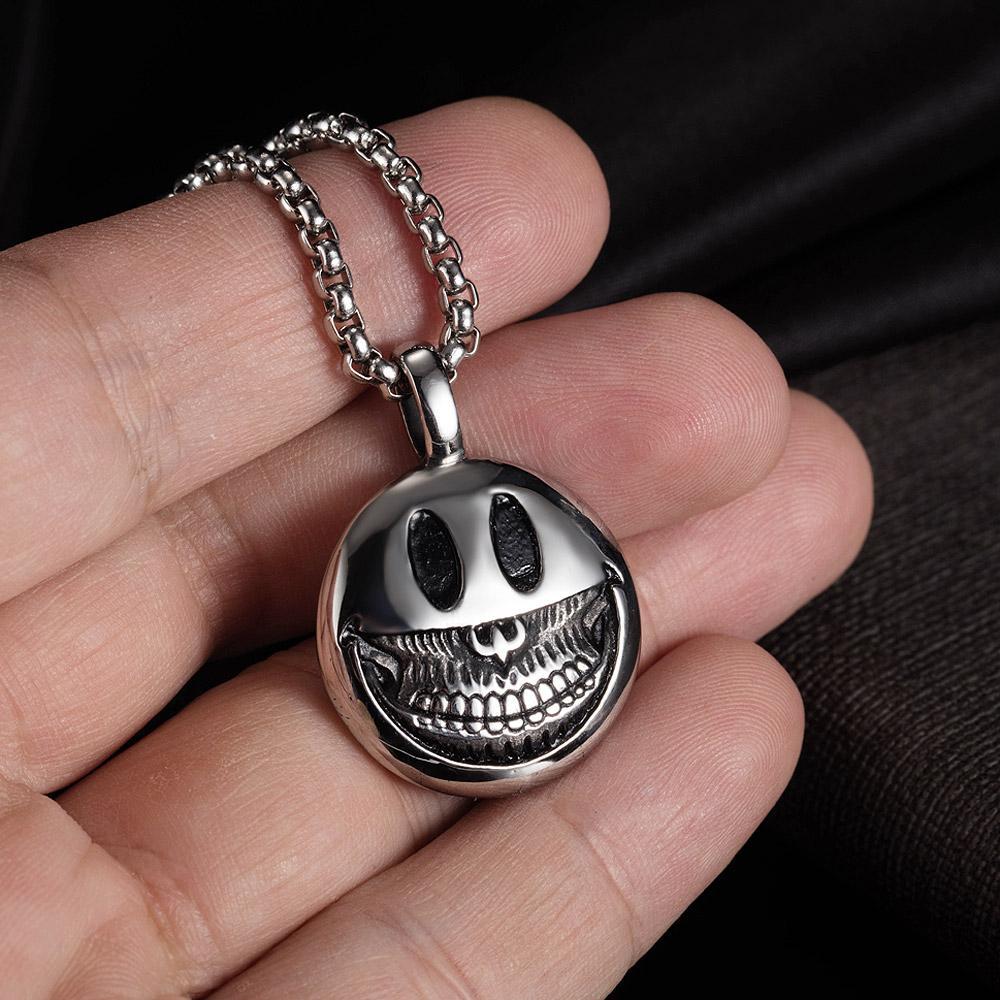 Devil Smiley Face Charms Pendentif HIP HOP STREET HIP-HOP Collier en acier inoxydable Chaîne de pull 24 pouces