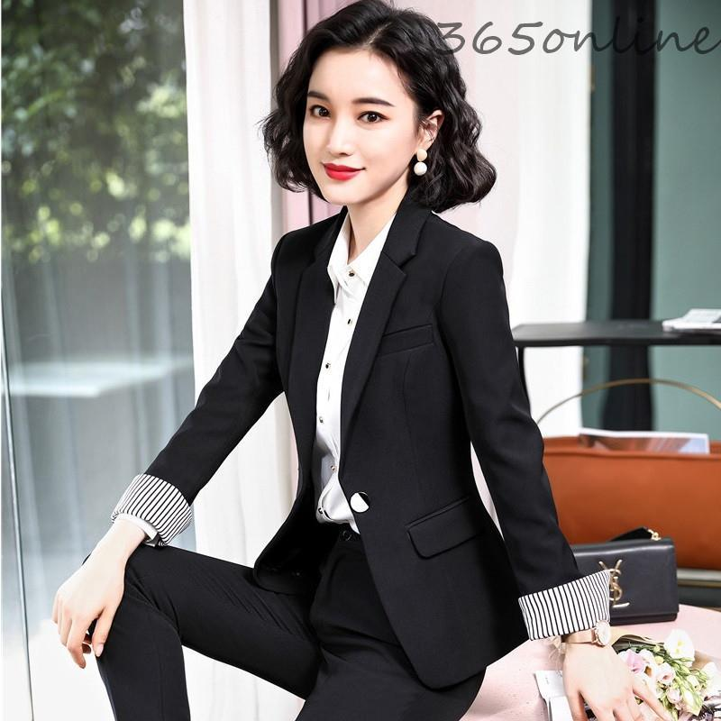 High Quality Fabric Novelty Black Long Sleeve Women Business Blazers And Jackets Coat Office Work Wear Tops Outwear Blaser Women's Suits &