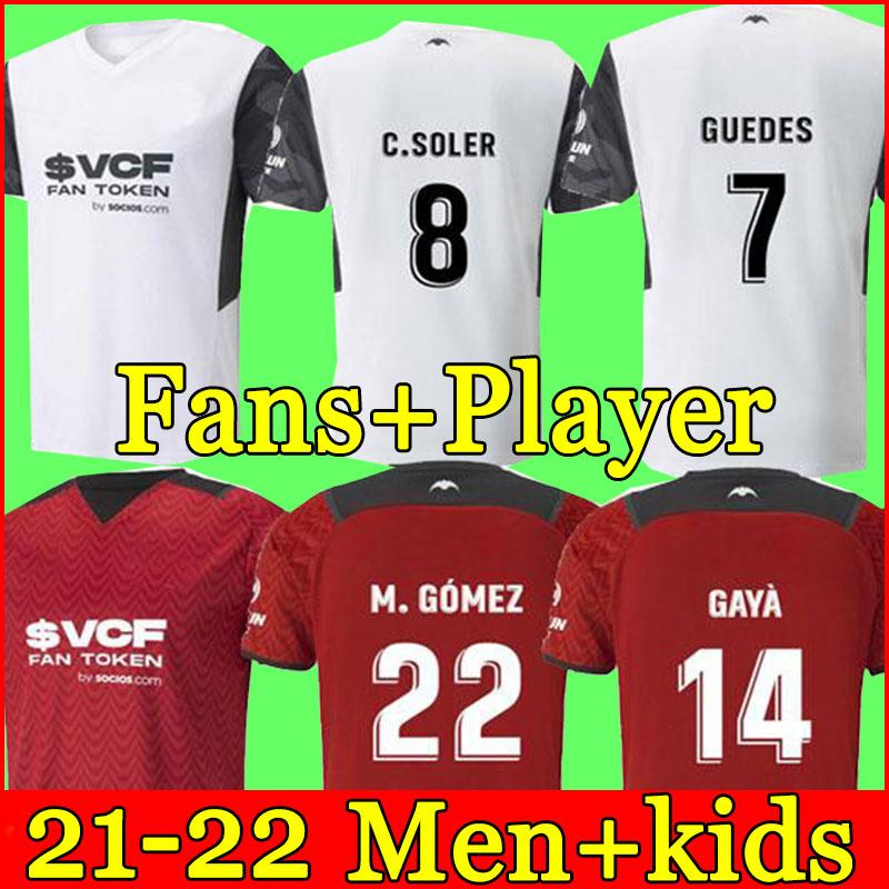 21 22 Valencia Soccer Jerseys 2021 Kids Home Alojamiento Guedes Gameiro Florenzi Rojo Blanco Camisetas de Futbol Rodrigo M.Gomez Men Jersey Kit Camisetas de fútbol