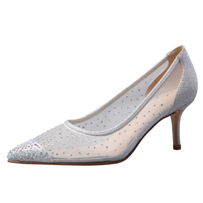 بروفا perfetto أنيقة اليدوية المرأة أحذية واحدة عارضة الكعوب المنخفضة شقة النساء شفاف الزفاف الخنجر 2021 الصيف الصنادل