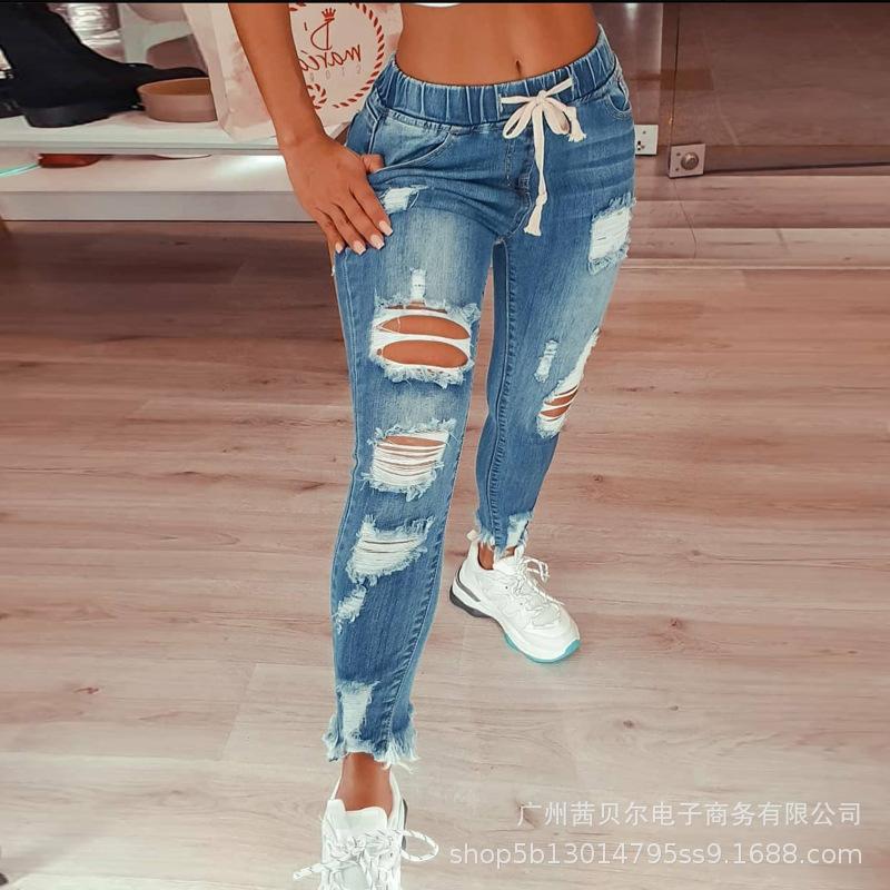 Wepbel féminin féminin hip hop hip trous cassé jeans jeans cordon de cordon a déchiré pantalon crayon