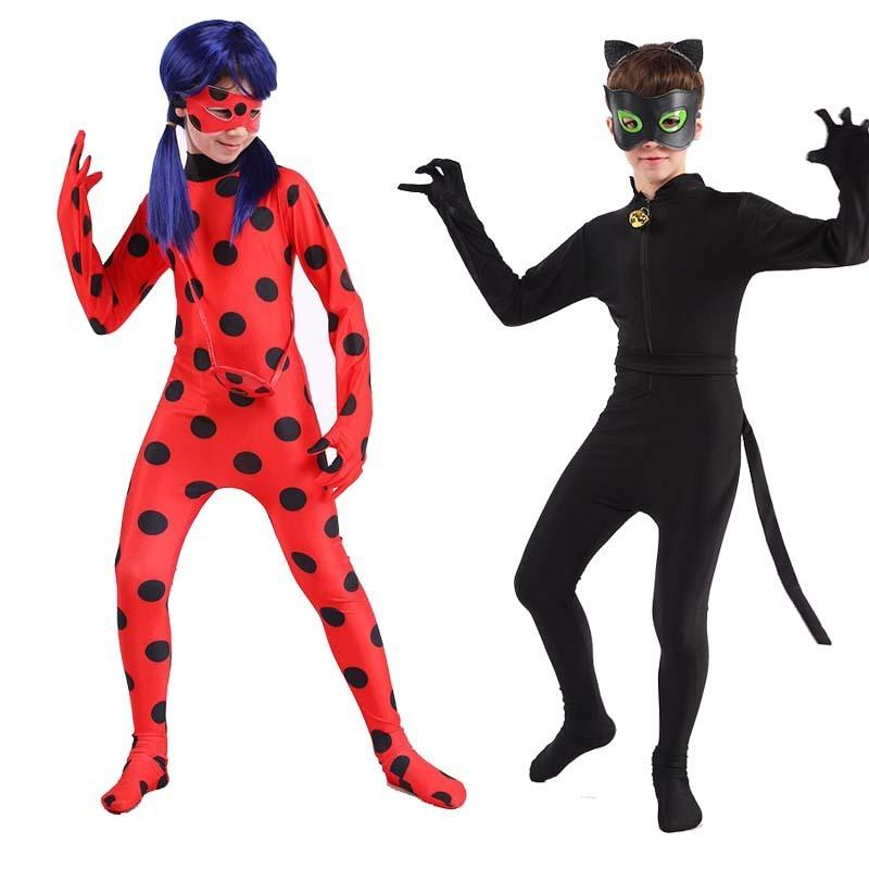 Ladybug Girl's Radi Black Cat's Kostüm Kinder Erwachsene COS Perig Strumpfhosen