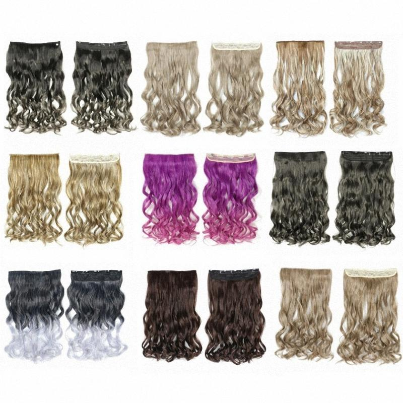 Synthetic Wigs Clip In Hair 5 Clips On Extentions Heat Resistant Fiber Long Wavy False Hairpiece One Piece For Women