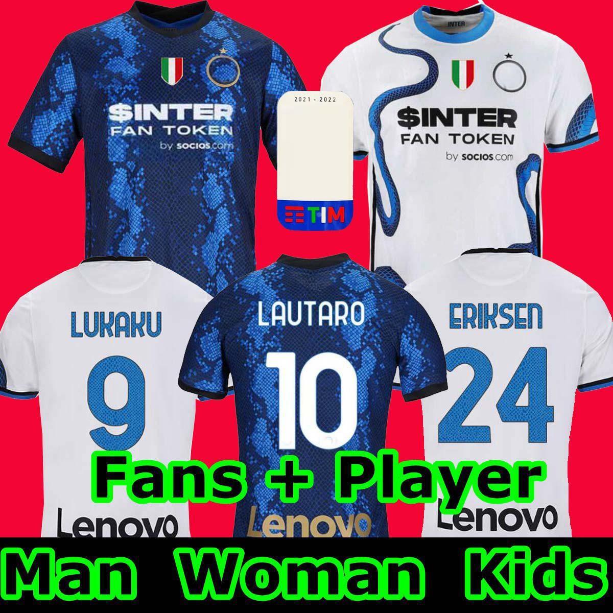 أعلى 2021 2022 Inter Soccer Jersey Lukaku Vidal Barella Lautaro Eriksen Alexis 21 22 قميص كرة القدم زي الرجال + أطفال كيت بعيدا ميلان 4th الرابع