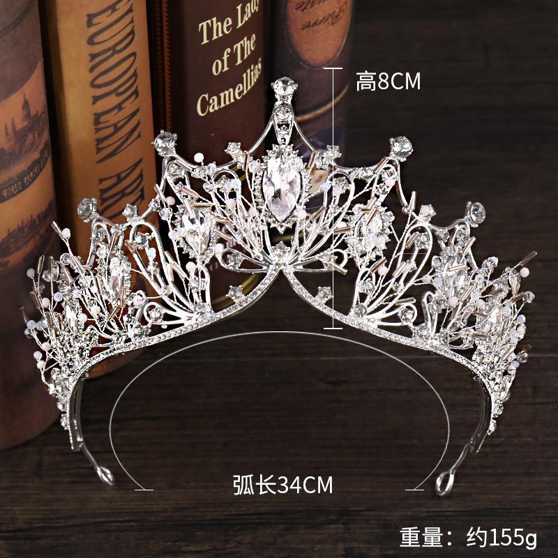 Kristal Büyük Tiara ve Taçlar Lüks Rhinestone Gelin Saç Takı Kadınlar Için El Yapımı Kraliçe Prenses Düğün Saç Aksesuarları 190 Q2