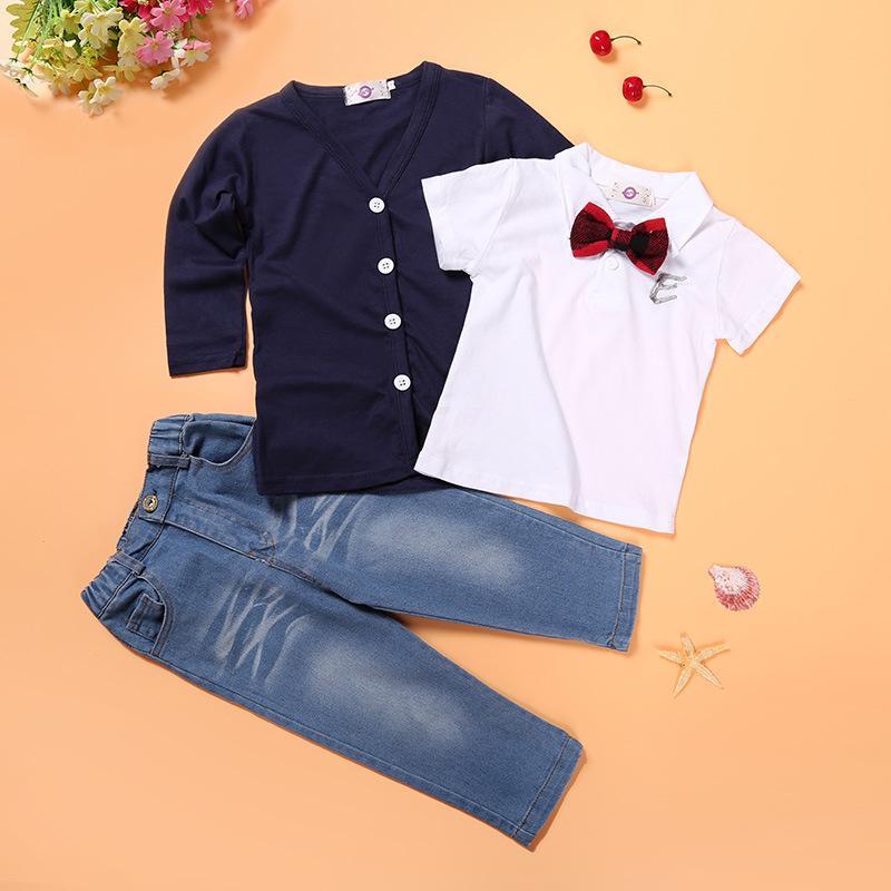 جديد الخريف ملابس الأطفال مجموعة سترة + تي شير + جينز 3 قطع الفتيان الملابس مجموعة الطفل البدلة 54 z2