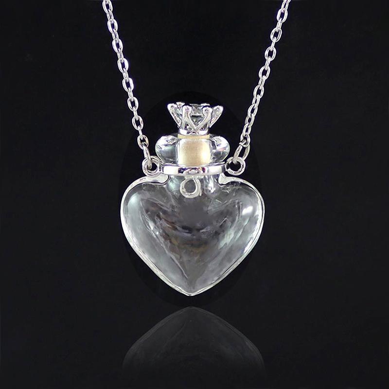 Anhänger 1 stück klares Herz Murano-Flasche ätherisches Ölglas-Parfüm-Halsketten Edelstahl-Ketten-Parfums für