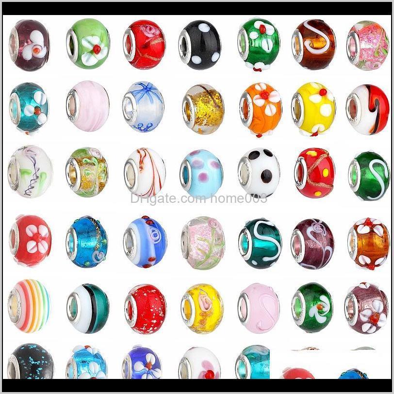 الخرز الزجاجي سحر جميل الأوروبي مورانو زجاج بياغي كبير حفرة كبيرة رولال الخرز صالح لسحر braceletsnecklace مزيج اللون O2I5P RQC0M