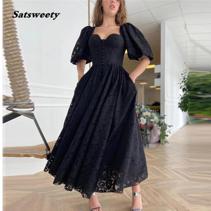 2021 Black Full Lace Evening Party Dresses With Half Puff Sleeves Heart Shape Neck Buttons Front Ankle Length Prom Gown