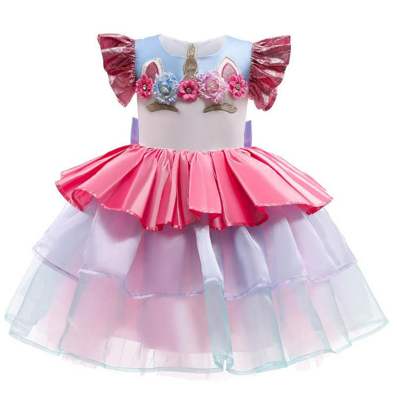 Girl's Dresses Baby Girls Casual Clothes Children Clothing Lace Birthday Party Pettiskirt Formal B5461