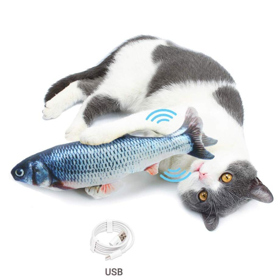 Electronic Pet Cat Toy Electric USB Cargando Simulación Juguetes de Pescado para Dog Cat Masticing Playing Morder Supplies Dropship DHL