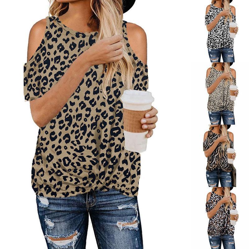 2021 Popular Top Women's Leopard Kink Off Hombro Camiseta de manga corta