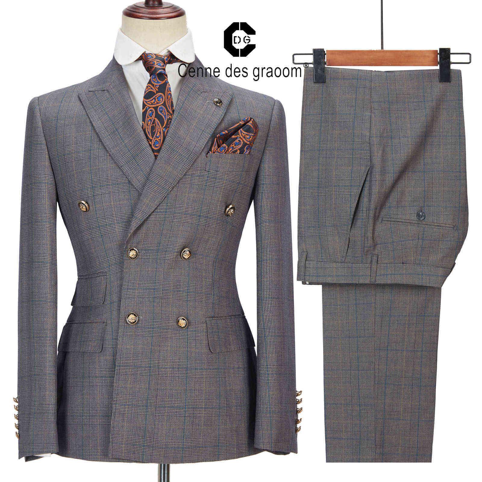 CENNE DES Graoom Yeni Erkekler Takım Elbise Terzi-Made Ekose Kruvaze 2 Parça Blazer Pantolon Slim Fit Düğün Şarkıcı Kostüm Homme X0909