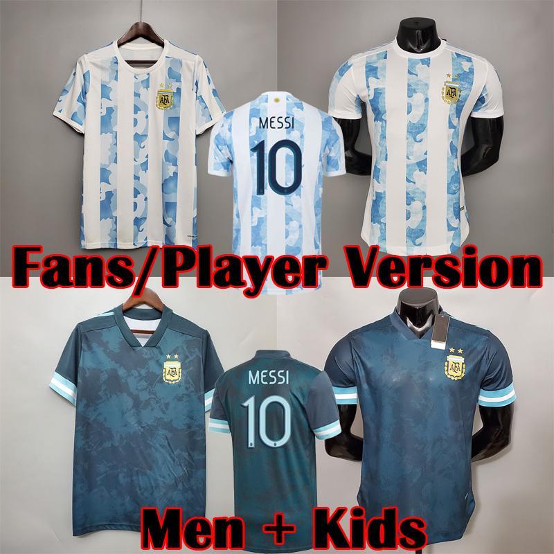 Argentina Futebol Jersey Fãs e Jogador Versão 2021 Copa América Di Maria Higuain Messi Dybala Aguero Camisa de Futebol Men + Kit Kids Sets uniformes 20 21