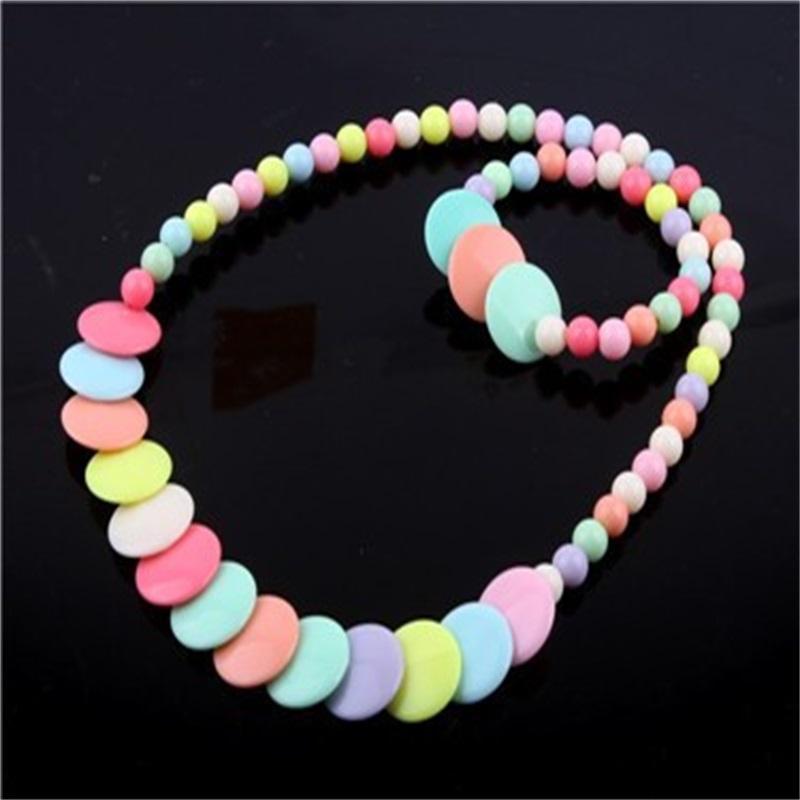 Colorful Beads Jewelrys Set Pendenti Collana Collana Bangle Acrilico Fiore Bambini Bambini Gioielli Bambini Ragazza Braccialetto Charm Collane 2 2NC K2