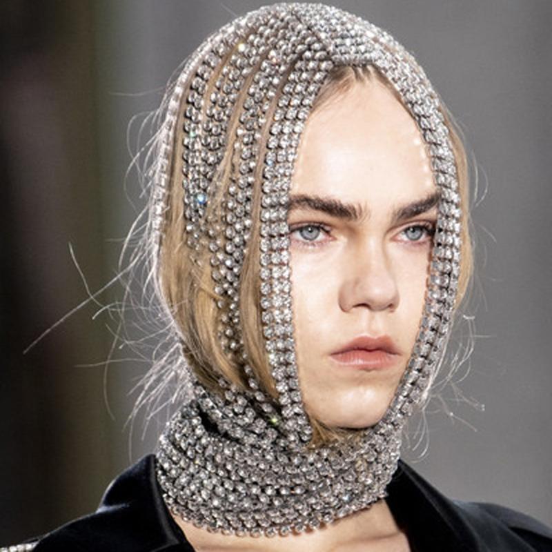 Saç Klipler Barrettes Abartılı Rhinestone Uzun Püskül Eşarp Bandı Kapak Kafa Zincirleri Başlığı Kadınlar Için Kristal Önlük Pisti Takı