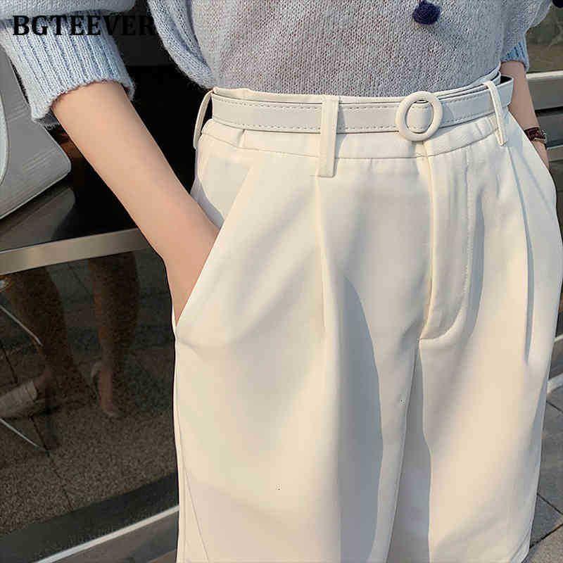 Damen Shorts Shorts Casual Hohe Taille Taschen Gürtelter Bein für Frauen Frühling Sommer Lose Weibliche Feste Anzüge Nwiw