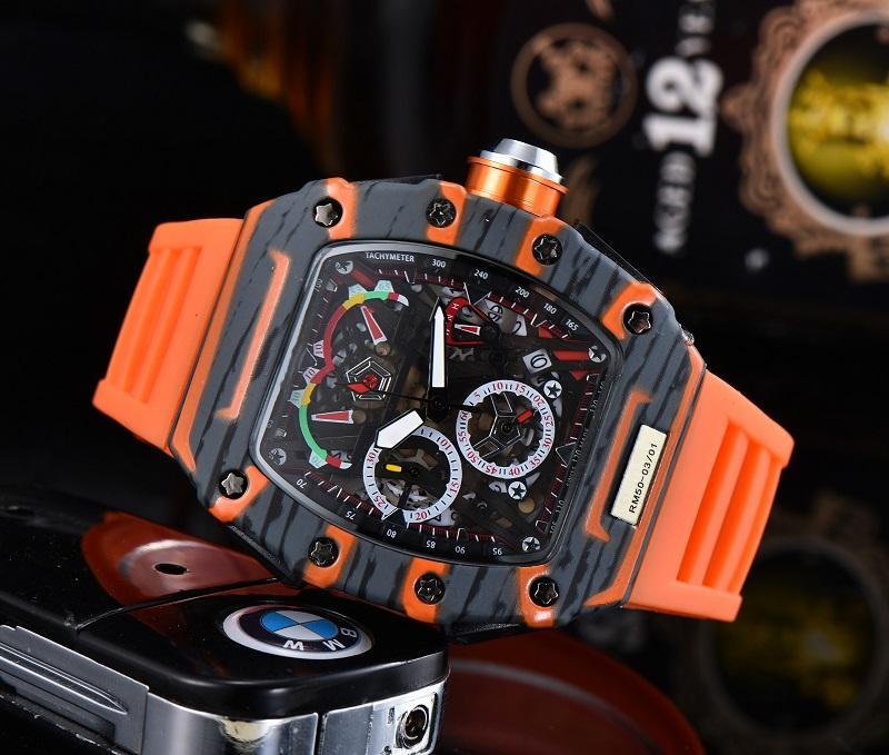 2021 Relojes de lujo de alta calidad para hombre Serie de cinco pines Todos los Diales Trabajo Reloj de cuarzo Richard Marca Strap de caucho con estilo Moda Tonneau Shap