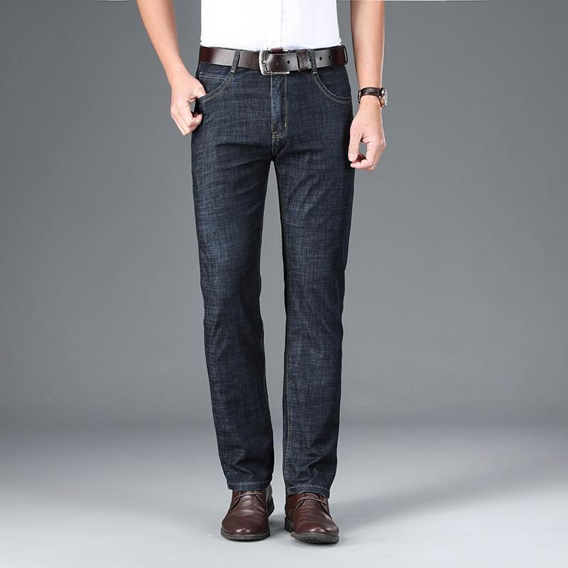 Ultradünnes Sommer Eis Seide Gerade Tencel Jeans Hosen Männer Lose Hosen Hohe Qualität Business Business Cotton Denim Männer