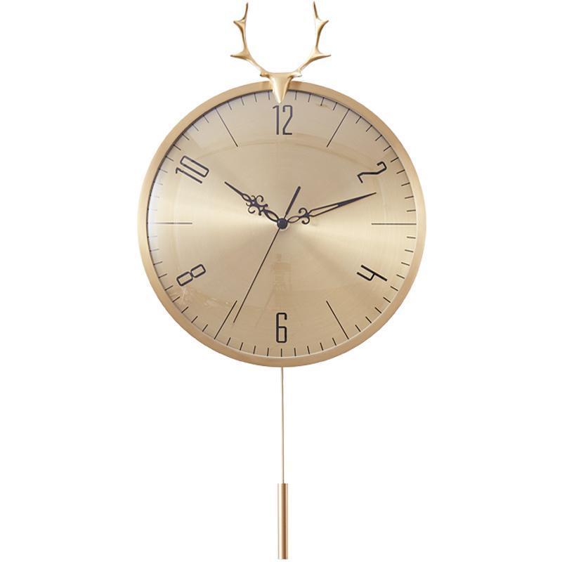 İskandinav Lüks Pendulum Duvar Saati Altın Oturma Odası Yaratıcı Basit Minimalist Bakır Retro Benzersiz Ev Dekoratif W6C Saatler