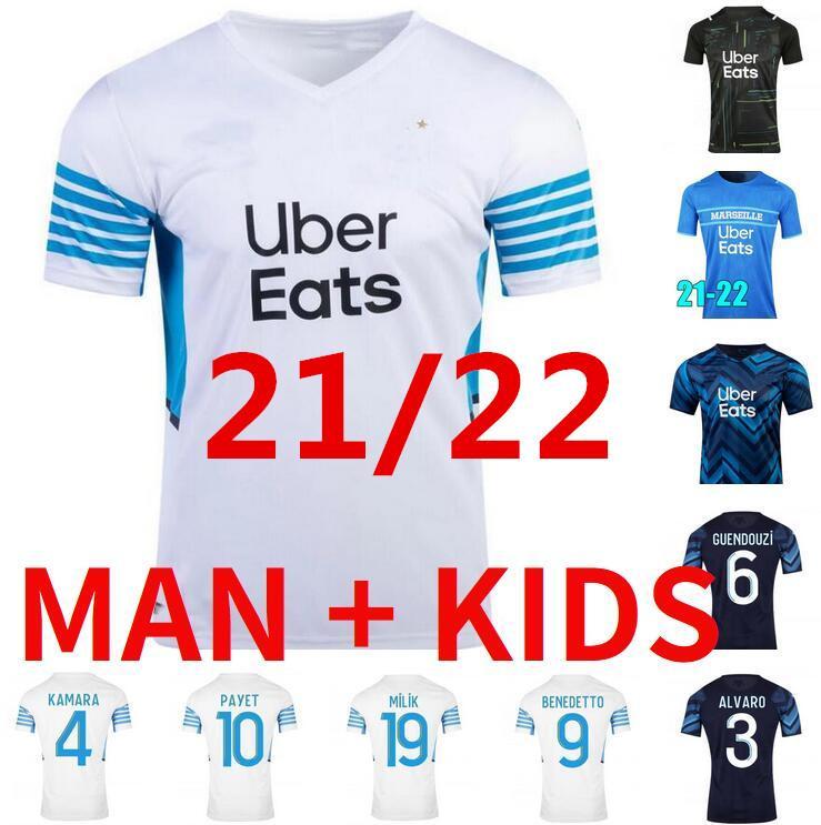 Fans Spieler Marseille Fussball Jersey Olympique DE 21 22 om 2021 2022 MAILLT FUCE THAUVIN Benedetto Kamara Payet Football Hemden Männer Kinder Luis Henrique Milik Mandanda