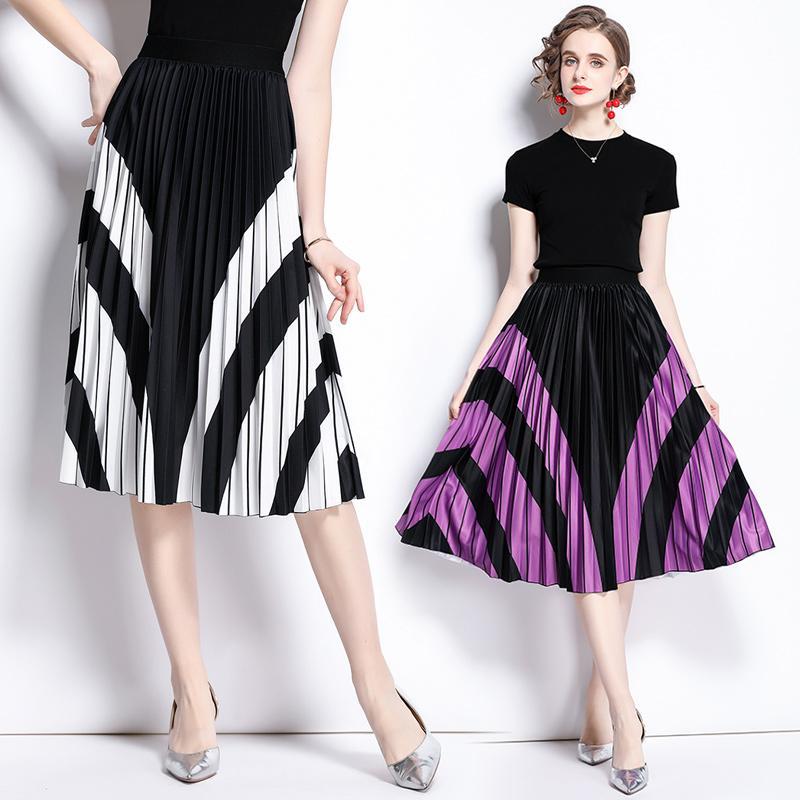Conjunto de mujeres de moda camiseta y falda plisada impresa verano conjunto de dos piezas fijadas de alta gama alta elegante trajes de manga corta