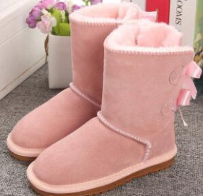 Bambini Bailey 2 Archi Boots Genuine Leather Toddlers Neve Solid Botas de Nieve Winter Girls Footwear Toddler Girls Boots Boots 989