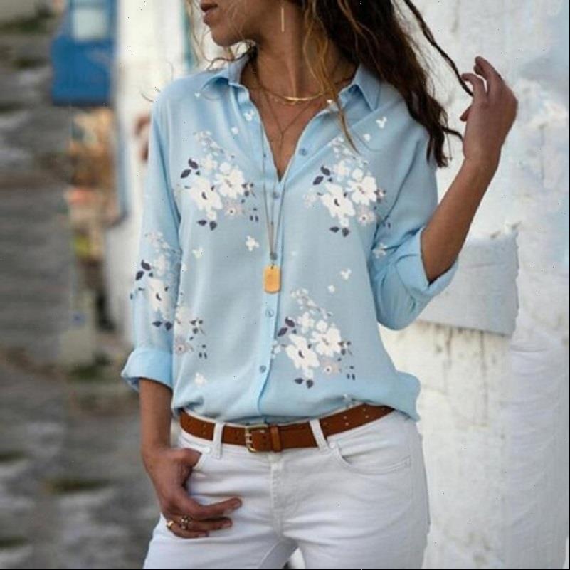 Tops Casual Plus Size Autumn Women Blouses Long Sleeve Print Chiffon Streetwear Slim Elegant Office