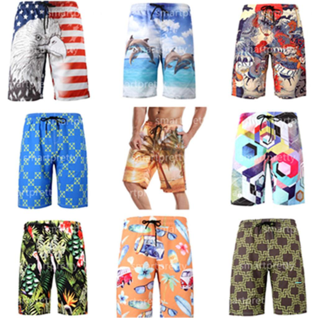 S-6XL Men's Beach Shorts Floral Dragon Coconut palm Car Printing Summer Sports Shorts Quick Dry with Mesh Layer Beachwear Pants 2020 LY327
