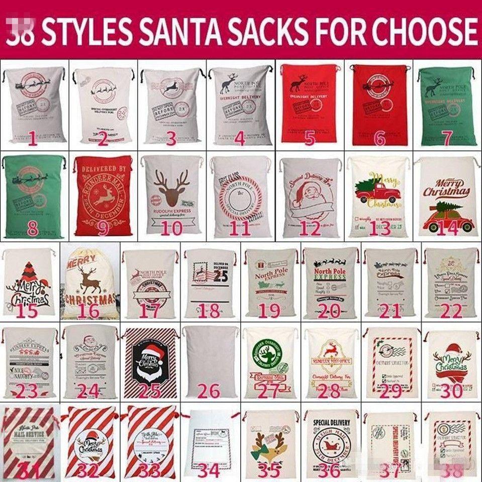 Bourse Sans Santa Santa Santa Toile Sacs en coton Grand sac de cadeau de cordon lourd organique organique Personnalisé Festival Party Décoration de Noël Noël Noël