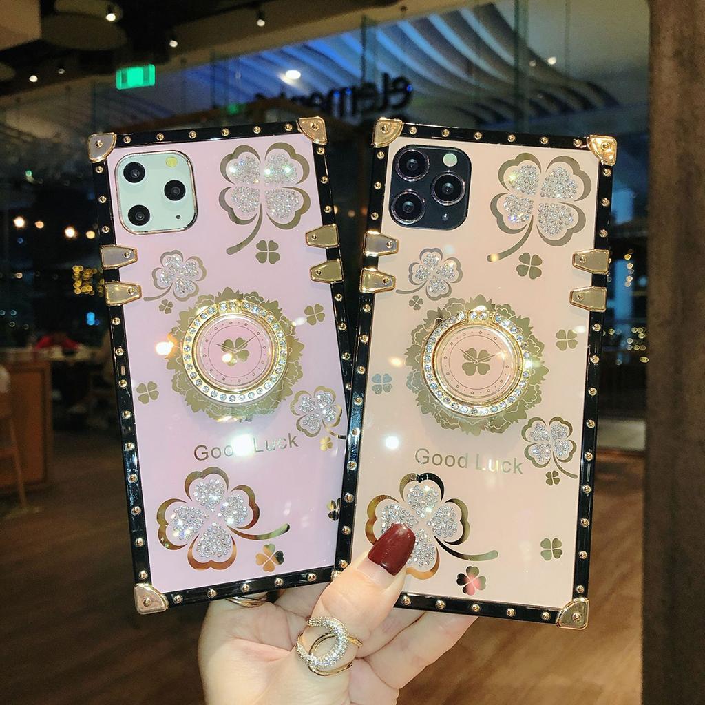 Tenedor de trébol de cuatro hojas Tenedor de anillo de diamantes de imitación Teléfono celular a prueba de golpes para iPhone 12 11 Pro Max XR XS 8 7 PLUS SAMSUNG A72 A52 A42 A32 A71 A51 A11 A11 Kickstand Buena suerte