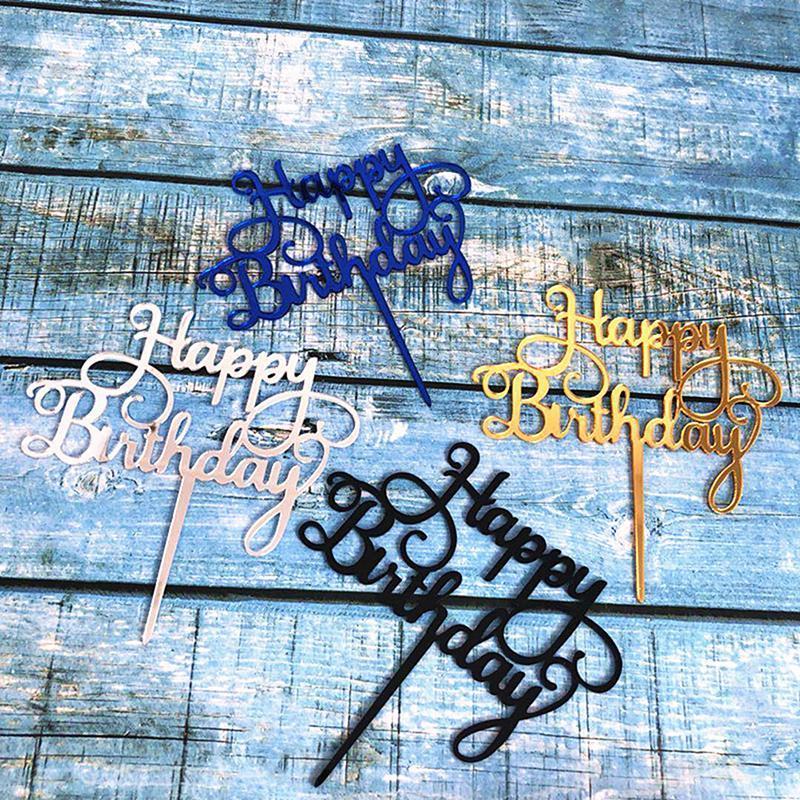 Ouro prata preto azul acrílico mão escrita feliz aniversário bolo topper decorações de sobremesa para decoração de festa Outras fontes festivas