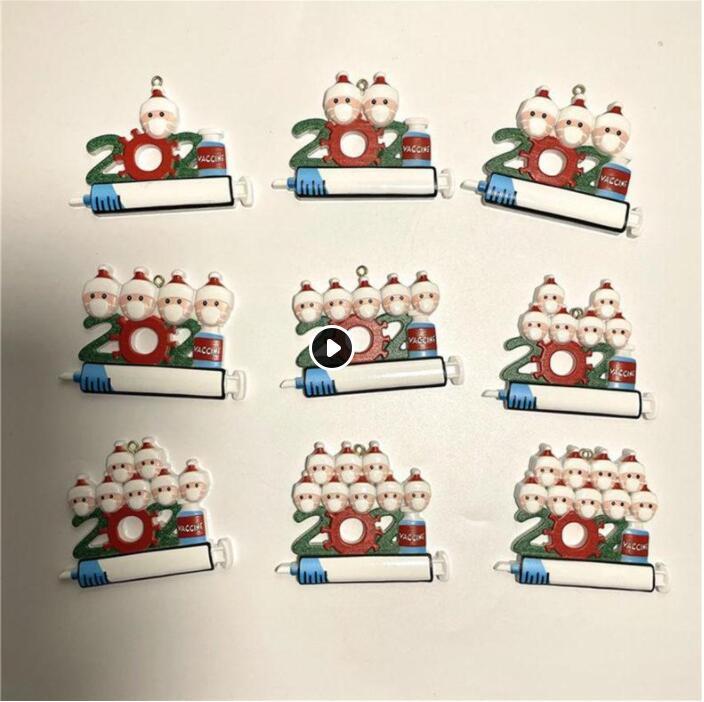 DHL 2021 Ornements de quarantaine de décoration de Noël Famille de 1-9 têtes ACCESSOIRES DE PENDENCE DIY ARBRE AVEC ROPE CM12