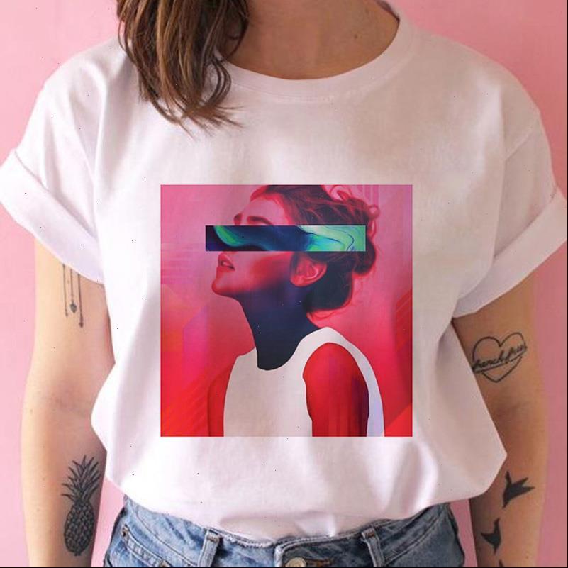 Frauen Womens Tops T-Shirt Ästhetische Mode Gedruckt Harajuku Sommer Weibliche Für Dame Lustige Rundhals Kurzarm Streetwear Hemden