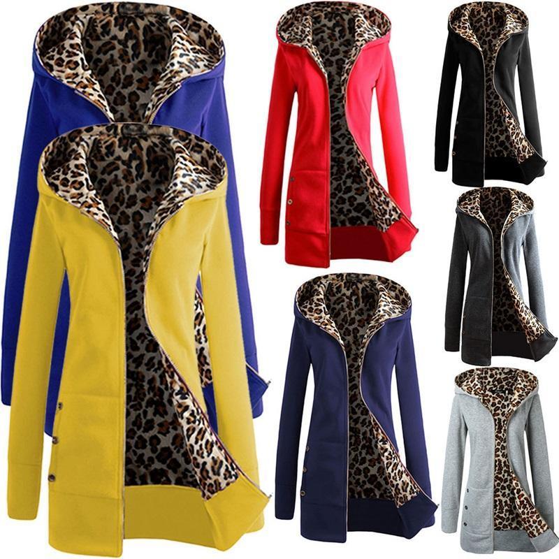 Mulheres Hoodies Moletons de Leopardo Oversized Mulheres Outono Inverno Suéter Zipper Outerwear Pockets Sudadaras Mujer suor Femme