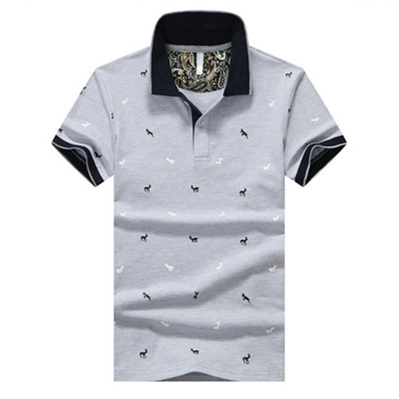 브랜드 티셔츠 폴로스 망 인쇄 티셔츠 짧은 소매 캐비다 캐주얼 스탠드 칼라 남성 폴로 셔츠 플러스 크기 M-4XL
