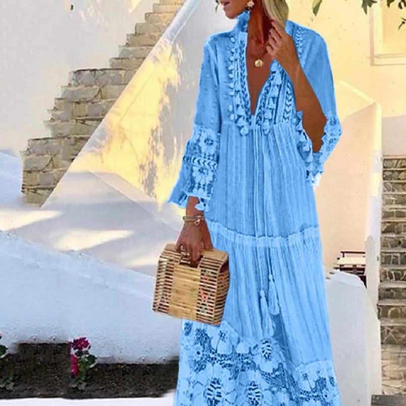 Femmes robe automne mode décontracté Bohemian Grande taille V eccolaire couleur solide Tassel Long Wholesale Expédier Z4