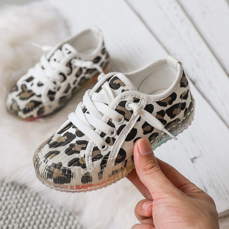 Meninas casuais meninos sapatos de lona impresso leopardo moda sólida crianças antiderrapante outono crianças sneakers esporte esporte atlético ao ar livre