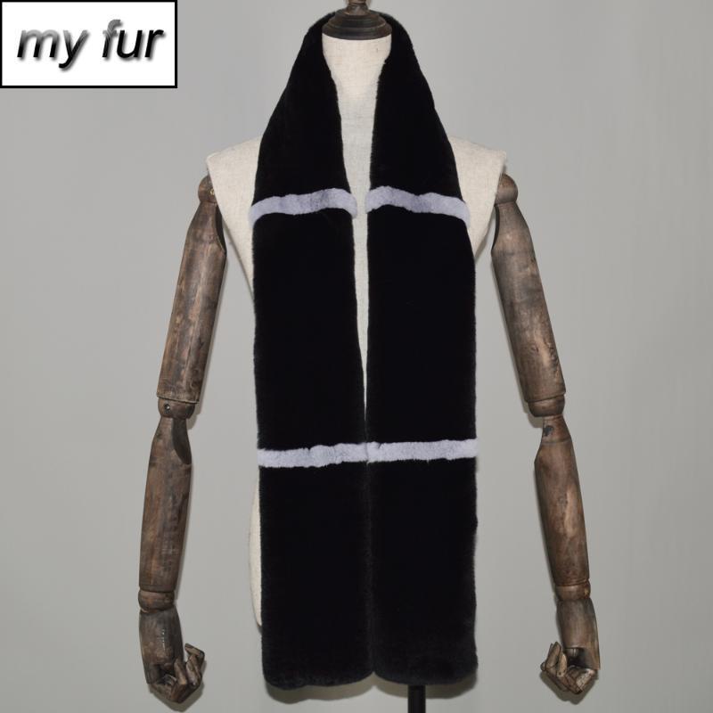 긴 스타일 여성 진짜 렉스 모피 스카프 따뜻한 캐주얼 neckerchief 2021 겨울 패션 스카프