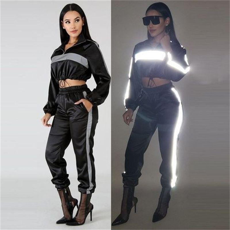 Fashion Costume pour Fitness Femme Femme manches longues Black Sportswear Sportswear Pull-Pantalon Sport Sport Ropa Mujer # 27